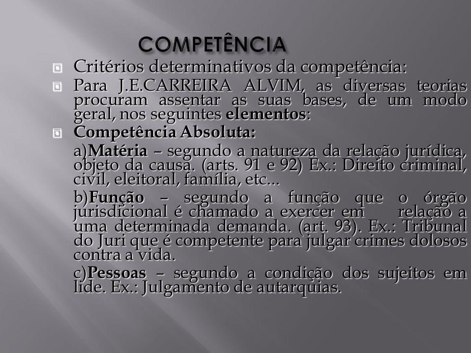 COMPETÊNCIA Critérios determinativos da competência: Critérios determinativos da competência: Para J.E.CARREIRA ALVIM, as diversas teorias procuram assentar as suas bases, de um modo geral, nos seguintes elementos : Para J.E.CARREIRA ALVIM, as diversas teorias procuram assentar as suas bases, de um modo geral, nos seguintes elementos : Competência Absoluta: Competência Absoluta: a) Matéria – segundo a natureza da relação jurídica, objeto da causa.