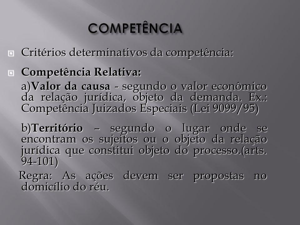 COMPETÊNCIA Critérios determinativos da competência: Critérios determinativos da competência: Competência Relativa: Competência Relativa: a) Valor da causa - segundo o valor econômico da relação jurídica, objeto da demanda.