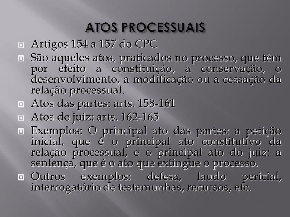 Artigos 154 a 157 do CPC Artigos 154 a 157 do CPC São aqueles atos, praticados no processo, que têm por efeito a constituição, a conservação, o desenvolvimento, a modificação ou a cessação da relação processual.