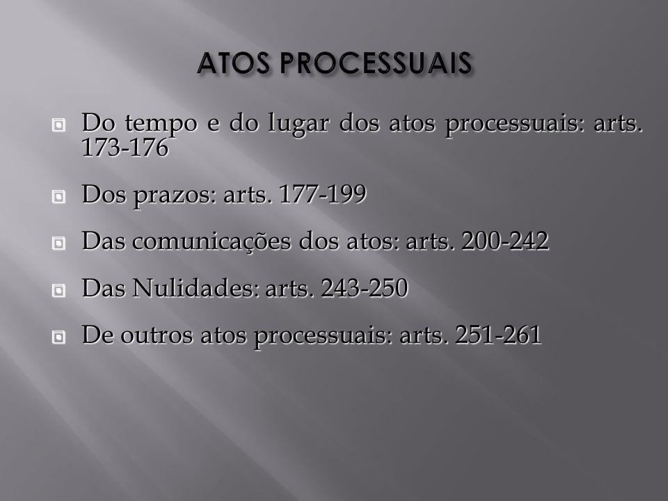Do tempo e do lugar dos atos processuais: arts.