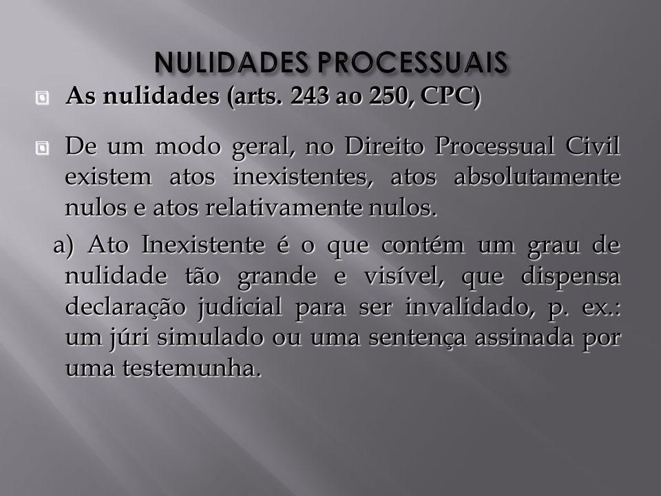 As nulidades (arts.243 ao 250, CPC) As nulidades (arts.