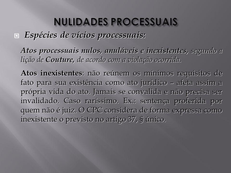 Espécies de vícios processuais: Espécies de vícios processuais: Atos processuais nulos, anuláveis e inexistentes, segundo a lição de Couture, de acordo com a violação ocorrida.