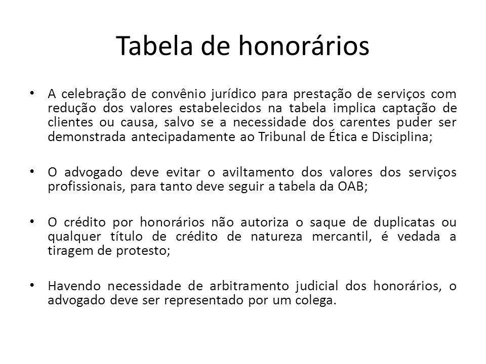 Tabela de honorários A celebração de convênio jurídico para prestação de serviços com redução dos valores estabelecidos na tabela implica captação de
