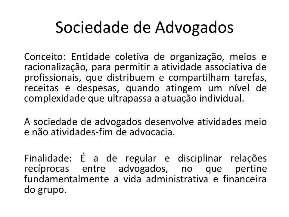 Sociedade de Advogados Conceito: Entidade coletiva de organização, meios e racionalização, para permitir a atividade associativa de profissionais, que