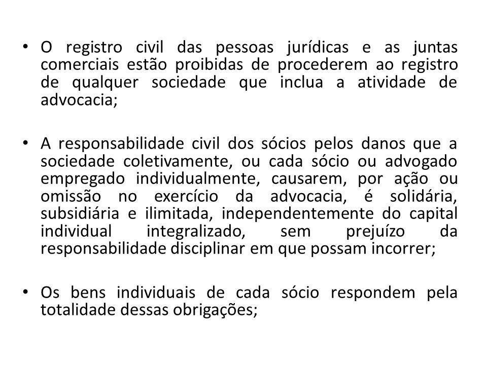 O registro civil das pessoas jurídicas e as juntas comerciais estão proibidas de procederem ao registro de qualquer sociedade que inclua a atividade d