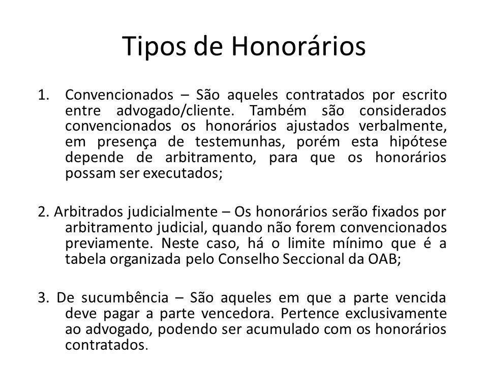 Tipos de Honorários 1.Convencionados – São aqueles contratados por escrito entre advogado/cliente. Também são considerados convencionados os honorário