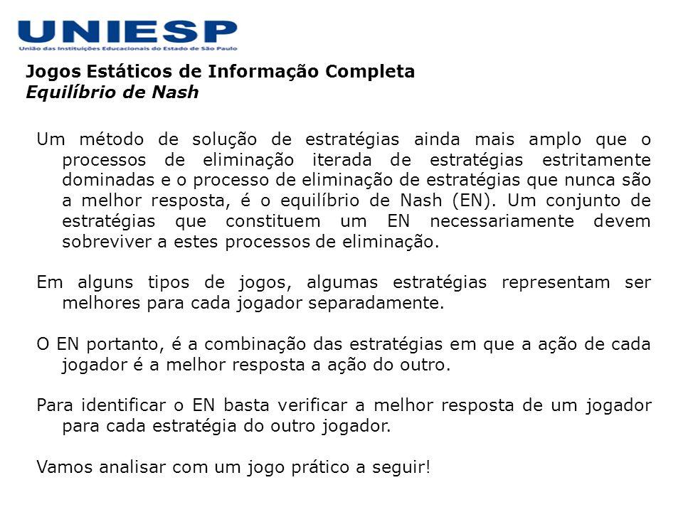 Jogos Estáticos de Informação Completa Equilíbrio de Nash Um método de solução de estratégias ainda mais amplo que o processos de eliminação iterada d