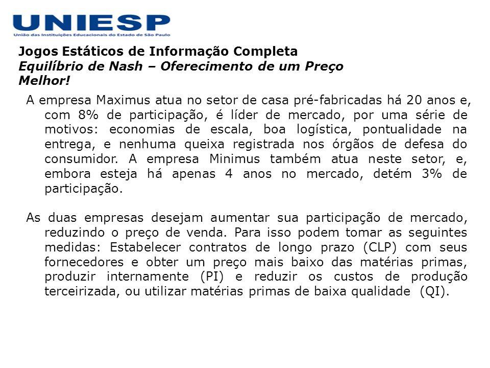Jogos Estáticos de Informação Completa Equilíbrio de Nash – Oferecimento de um Preço Melhor! A empresa Maximus atua no setor de casa pré-fabricadas há