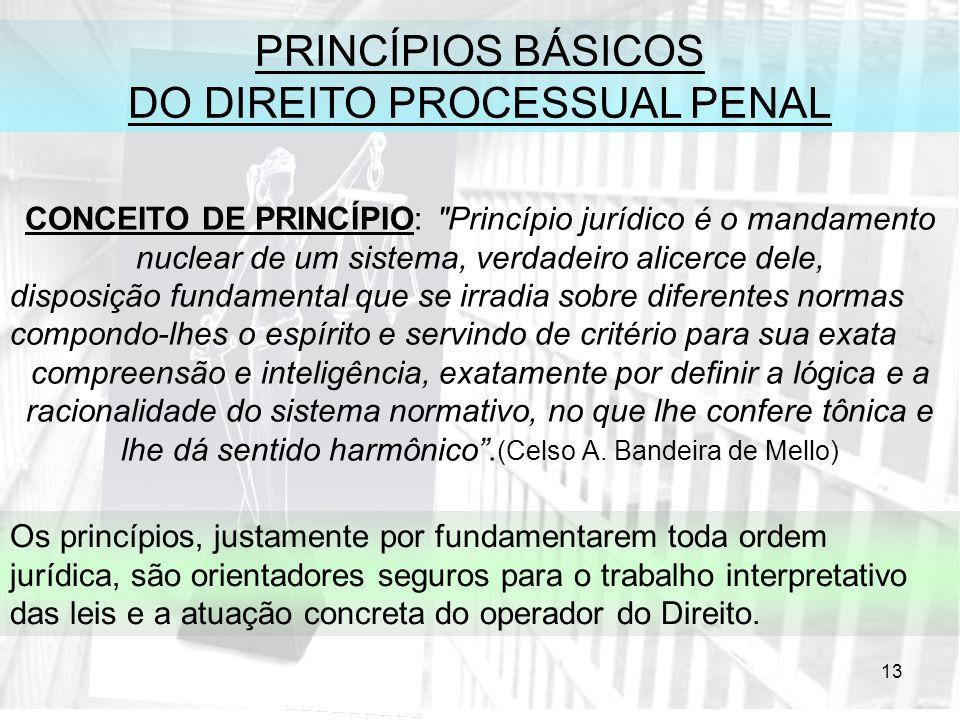 13 PRINCÍPIOS BÁSICOS DO DIREITO PROCESSUAL PENAL CONCEITO DE PRINCÍPIO: