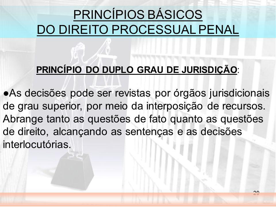 29 PRINCÍPIOS BÁSICOS DO DIREITO PROCESSUAL PENAL PRINCÍPIO DO DUPLO GRAU DE JURISDIÇÃO: As decisões pode ser revistas por órgãos jurisdicionais de grau superior, por meio da interposição de recursos.