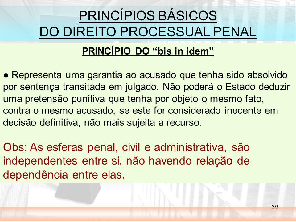 30 PRINCÍPIOS BÁSICOS DO DIREITO PROCESSUAL PENAL PRINCÍPIO DO bis in idem Representa uma garantia ao acusado que tenha sido absolvido por sentença tr
