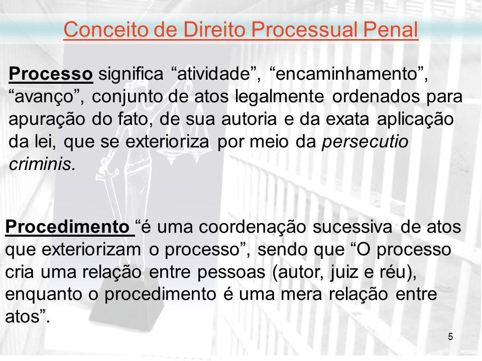 5 Conceito de Direito Processual Penal Processo significa atividade, encaminhamento, avanço, conjunto de atos legalmente ordenados para apuração do fa