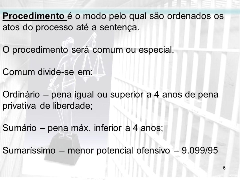 6 Procedimento é o modo pelo qual são ordenados os atos do processo até a sentença. O procedimento será comum ou especial. Comum divide-se em: Ordinár