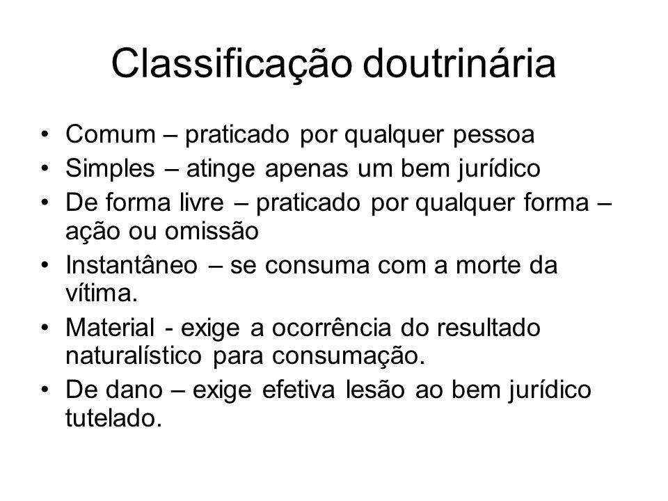 Classificação doutrinária Comum – praticado por qualquer pessoa Simples – atinge apenas um bem jurídico De forma livre – praticado por qualquer forma