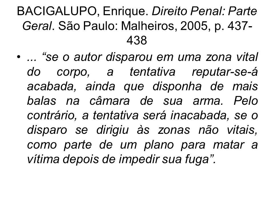 BACIGALUPO, Enrique. Direito Penal: Parte Geral. São Paulo: Malheiros, 2005, p. 437- 438... se o autor disparou em uma zona vital do corpo, a tentativ