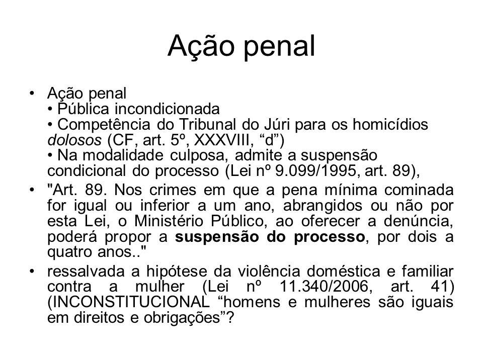 Ação penal Ação penal Pública incondicionada Competência do Tribunal do Júri para os homicídios dolosos (CF, art. 5º, XXXVIII, d) Na modalidade culpos