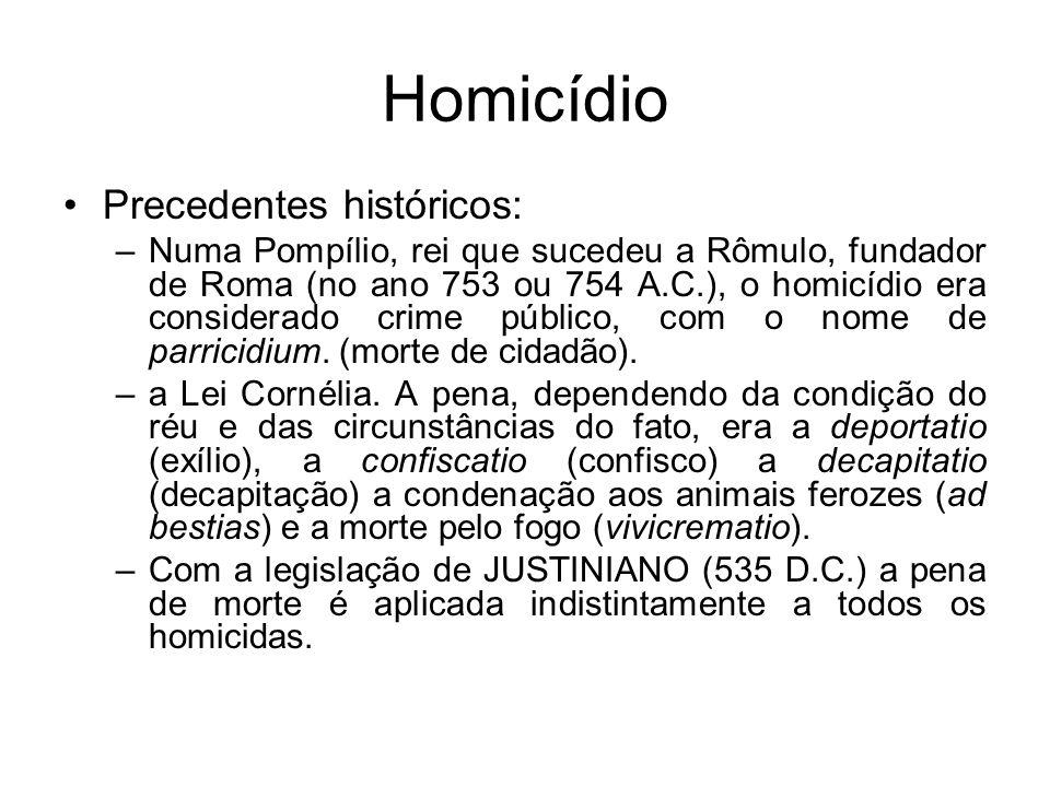 Homicídio Precedentes históricos: –Numa Pompílio, rei que sucedeu a Rômulo, fundador de Roma (no ano 753 ou 754 A.C.), o homicídio era considerado cri