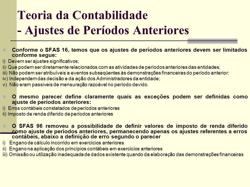 Teoria da Contabilidade - Ajustes de Períodos Anteriores Conforme o SFAS 16, temos que os ajustes de períodos anteriores devem ser limitados conforme