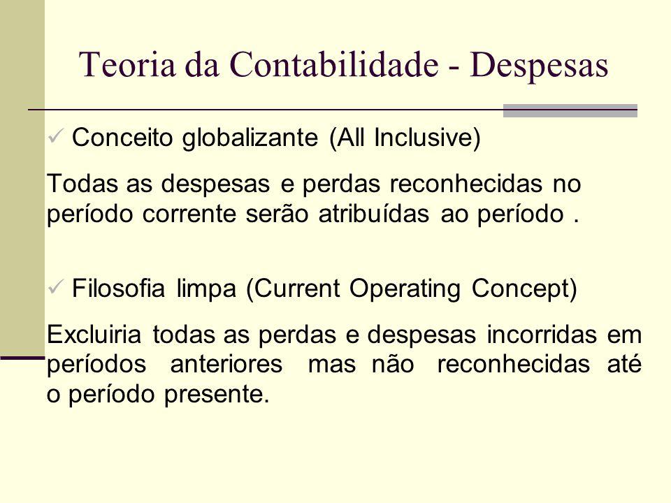 Teoria da Contabilidade - Despesas Conceito globalizante (All Inclusive) Todas as despesas e perdas reconhecidas no período corrente serão atribuídas