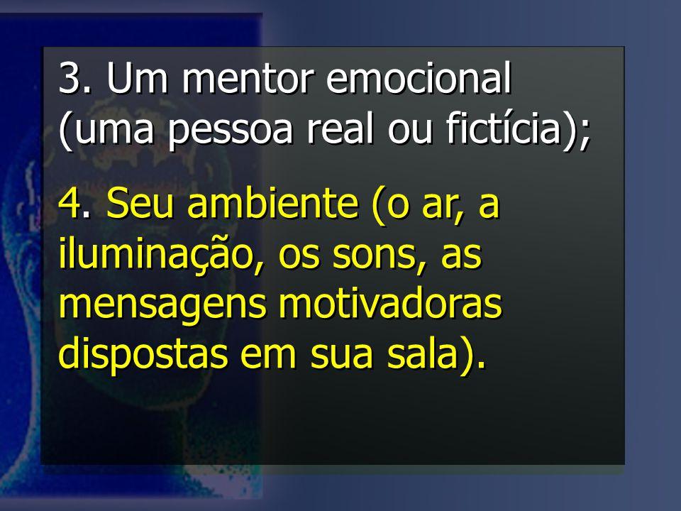 3. Um mentor emocional (uma pessoa real ou fictícia); 4. Seu ambiente (o ar, a iluminação, os sons, as mensagens motivadoras dispostas em sua sala). 3