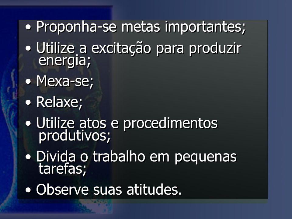 Proponha-se metas importantes; Utilize a excitação para produzir energia; Mexa-se; Relaxe; Utilize atos e procedimentos produtivos; Divida o trabalho