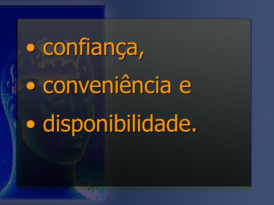 confiança, conveniência e disponibilidade. confiança, conveniência e disponibilidade.