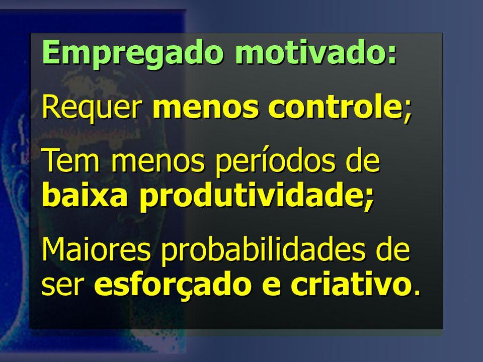 Empregado motivado: Requer menos controle; Tem menos períodos de baixa produtividade; Maiores probabilidades de ser esforçado e criativo. Empregado mo