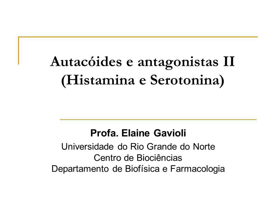 Anti-histamínicos H 2 Ações farmacológicas Bloqueio dos receptores H 2 é muito seletivo (não há bloqueio H 1 ) Ex.: Cimetidina, Ranitidina, Famotidina, Nizatidina Ação mais importante: Bloqueio dos receptores H 2 das células parietais do estômago secreção ácida e da pepsina (basal e estimulada por histamina, pentagastrina ou insulina)
