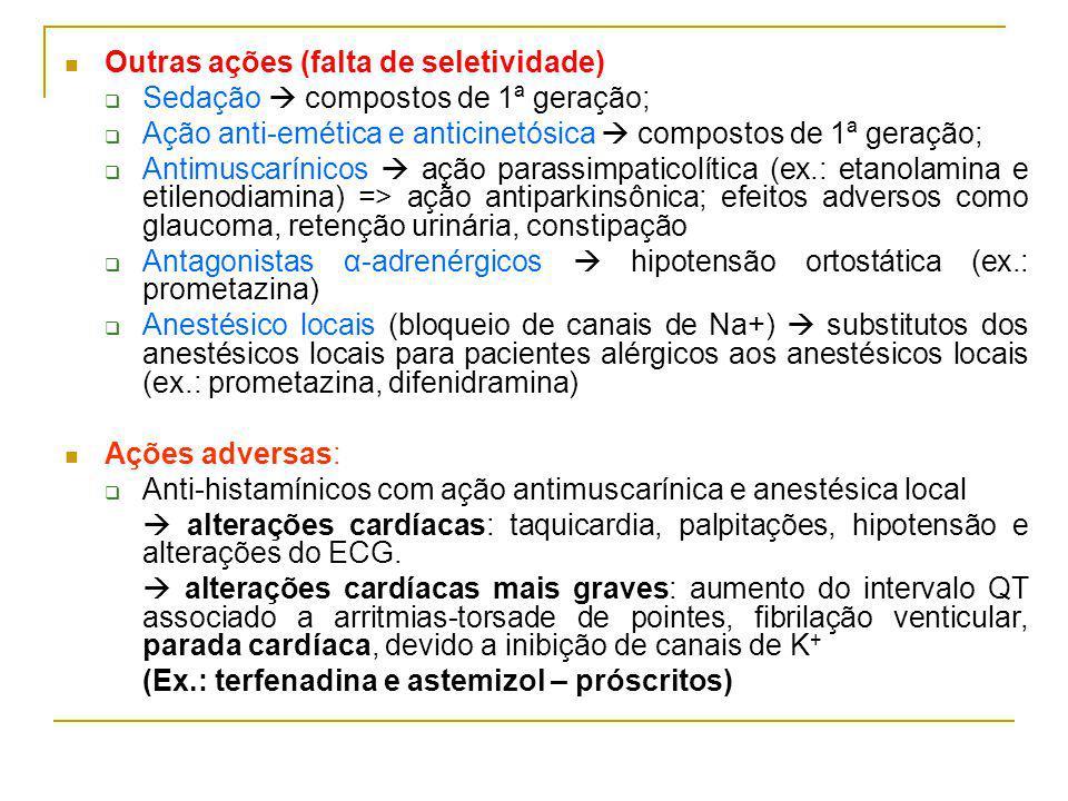 Outras ações (falta de seletividade) Sedação compostos de 1ª geração; Ação anti-emética e anticinetósica compostos de 1ª geração; Antimuscarínicos ação parassimpaticolítica (ex.: etanolamina e etilenodiamina) => ação antiparkinsônica; efeitos adversos como glaucoma, retenção urinária, constipação Antagonistas α-adrenérgicos hipotensão ortostática (ex.: prometazina) Anestésico locais (bloqueio de canais de Na+) substitutos dos anestésicos locais para pacientes alérgicos aos anestésicos locais (ex.: prometazina, difenidramina) Ações adversas: Anti-histamínicos com ação antimuscarínica e anestésica local alterações cardíacas: taquicardia, palpitações, hipotensão e alterações do ECG.