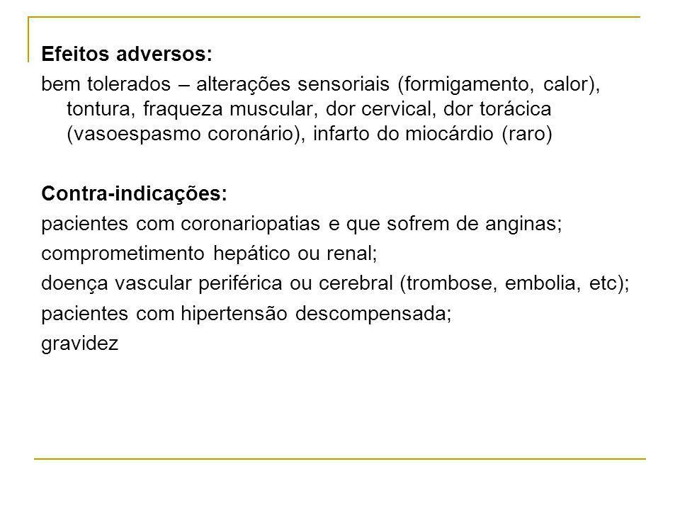 Efeitos adversos: bem tolerados – alterações sensoriais (formigamento, calor), tontura, fraqueza muscular, dor cervical, dor torácica (vasoespasmo coronário), infarto do miocárdio (raro) Contra-indicações: pacientes com coronariopatias e que sofrem de anginas; comprometimento hepático ou renal; doença vascular periférica ou cerebral (trombose, embolia, etc); pacientes com hipertensão descompensada; gravidez