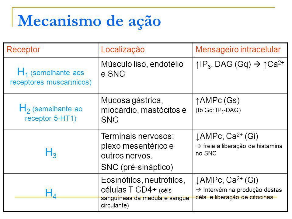 Mecanismo de ação ReceptorLocalizaçãoMensageiro intracelular H 1 (semelhante aos receptores muscar í nicos) Músculo liso, endotélio e SNC IP 3, DAG (Gq) Ca 2+ H 2 (semelhante ao receptor 5-HT1) Mucosa gástrica, miocárdio, mastócitos e SNC AMPc (Gs) (tb Gq: IP 3 -DAG) H3H3 Terminais nervosos: plexo mesentérico e outros nervos.