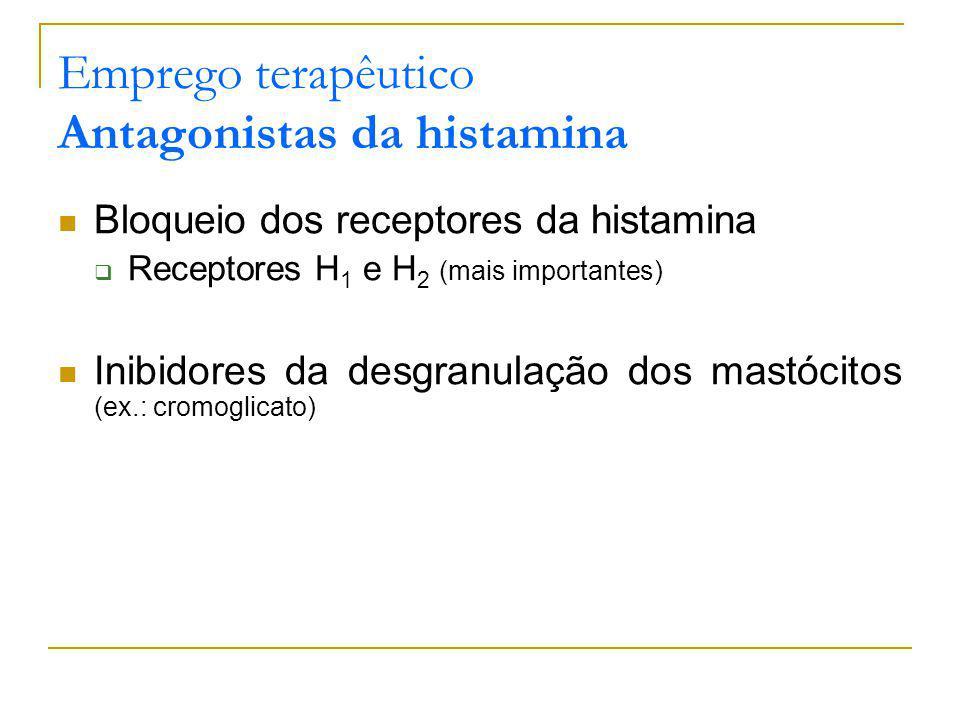 Emprego terapêutico Antagonistas da histamina Bloqueio dos receptores da histamina Receptores H 1 e H 2 (mais importantes) Inibidores da desgranulação dos mastócitos (ex.: cromoglicato)