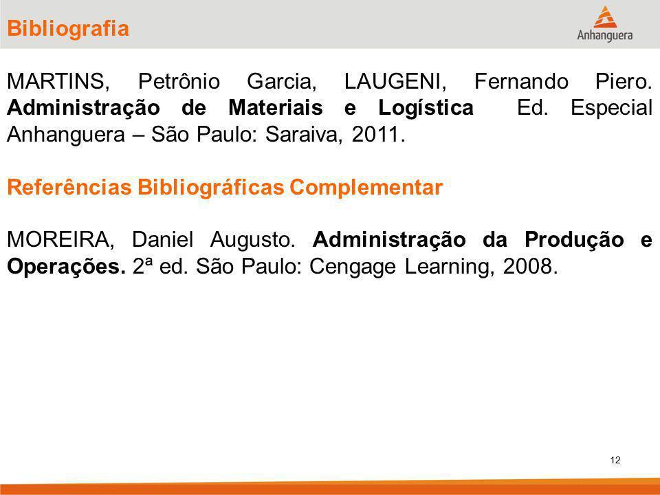 12 Bibliografia MARTINS, Petrônio Garcia, LAUGENI, Fernando Piero. Administração de Materiais e Logística Ed. Especial Anhanguera – São Paulo: Saraiva