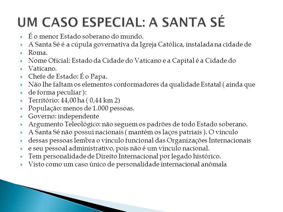 É o menor Estado soberano do mundo. A Santa Sé é a cúpula governativa da Igreja Católica, instalada na cidade de Roma. Nome Oficial: Estado da Cidade