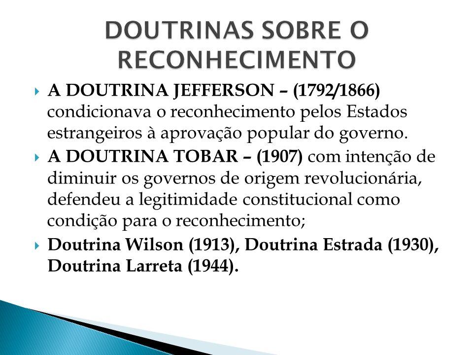 A DOUTRINA JEFFERSON – (1792/1866) condicionava o reconhecimento pelos Estados estrangeiros à aprovação popular do governo. A DOUTRINA TOBAR – (1907)