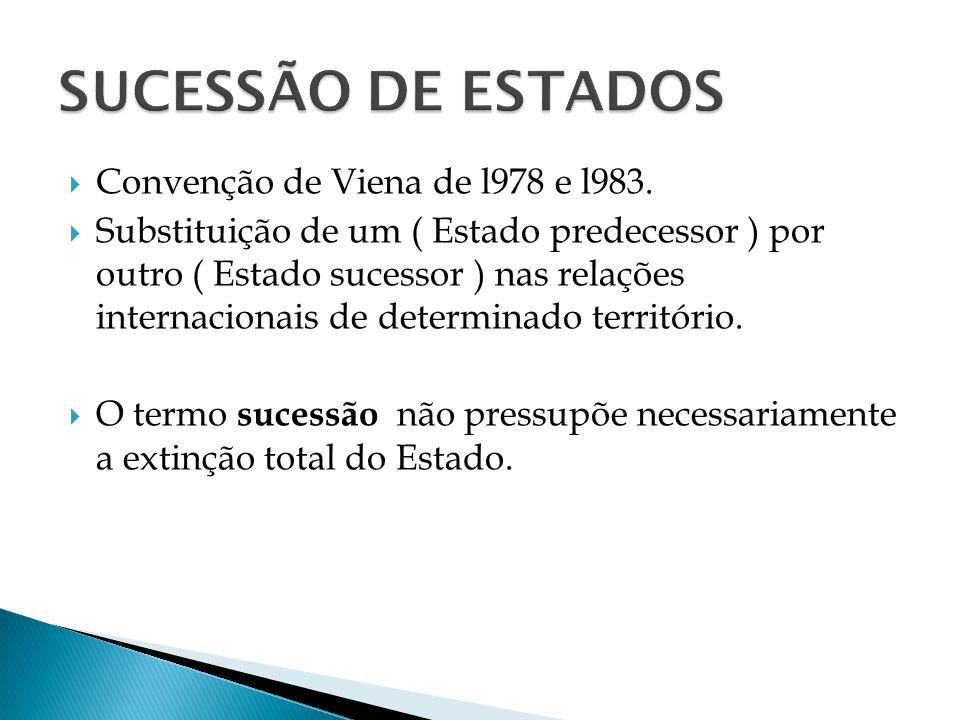 Convenção de Viena de l978 e l983. Substituição de um ( Estado predecessor ) por outro ( Estado sucessor ) nas relações internacionais de determinado
