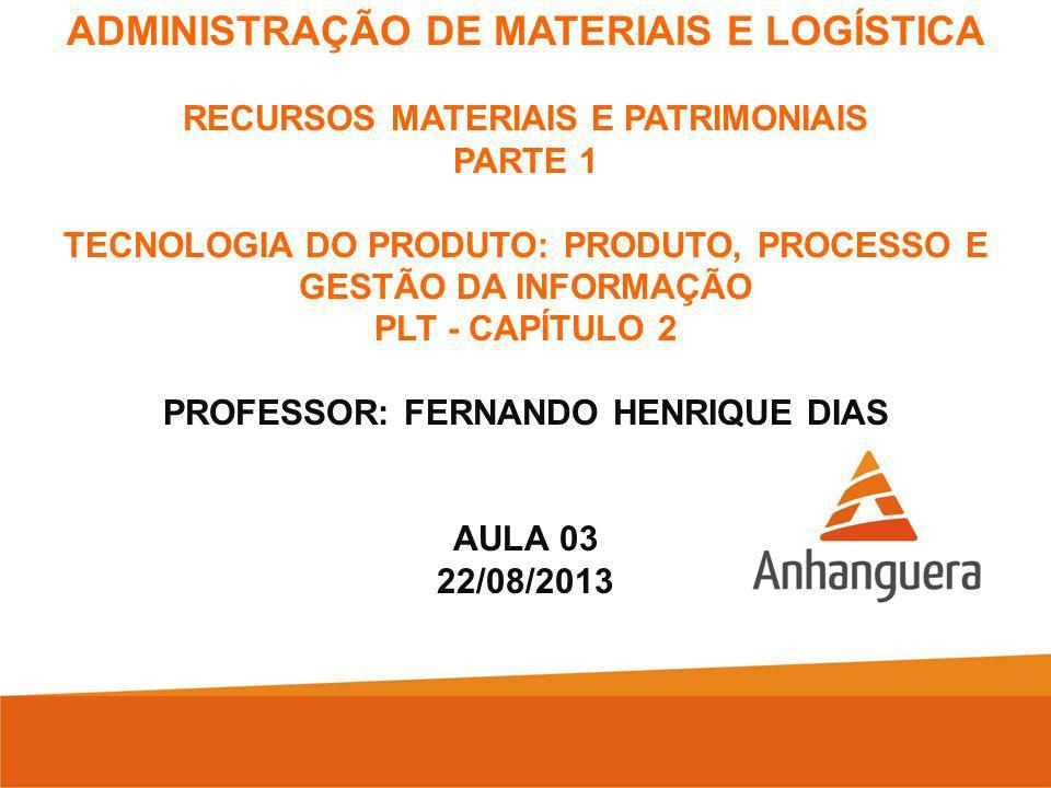ADMINISTRAÇÃO DE MATERIAIS E LOGÍSTICA RECURSOS MATERIAIS E PATRIMONIAIS PARTE 1 TECNOLOGIA DO PRODUTO: PRODUTO, PROCESSO E GESTÃO DA INFORMAÇÃO PLT - CAPÍTULO 2 PROFESSOR: FERNANDO HENRIQUE DIAS AULA 03 22/08/2013
