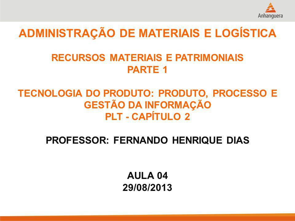 ADMINISTRAÇÃO DE MATERIAIS E LOGÍSTICA RECURSOS MATERIAIS E PATRIMONIAIS PARTE 1 TECNOLOGIA DO PRODUTO: PRODUTO, PROCESSO E GESTÃO DA INFORMAÇÃO PLT - CAPÍTULO 2 PROFESSOR: FERNANDO HENRIQUE DIAS AULA 04 29/08/2013