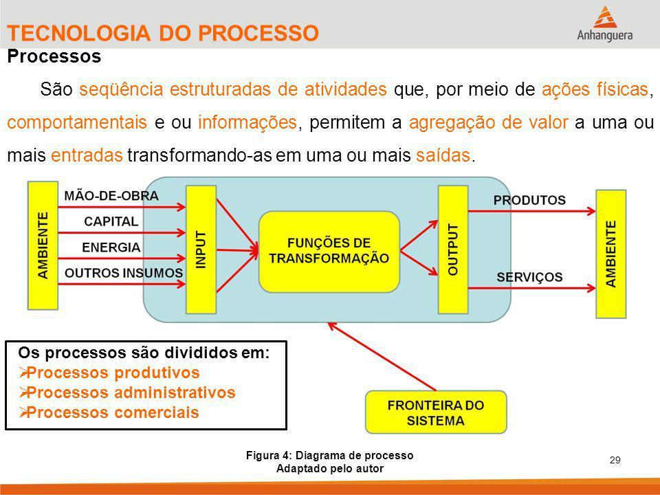 29 TECNOLOGIA DO PROCESSO Processos São seqüência estruturadas de atividades que, por meio de ações físicas, comportamentais e ou informações, permitem a agregação de valor a uma ou mais entradas transformando-as em uma ou mais saídas.