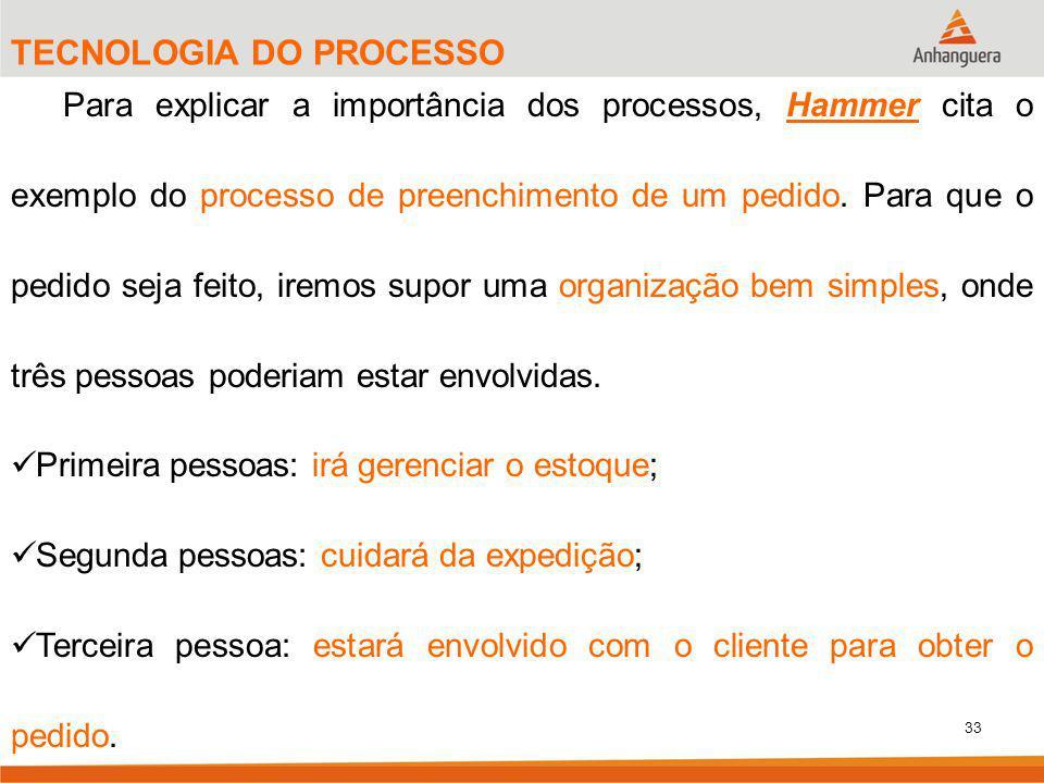33 TECNOLOGIA DO PROCESSO Para explicar a importância dos processos, Hammer cita o exemplo do processo de preenchimento de um pedido. Para que o pedid