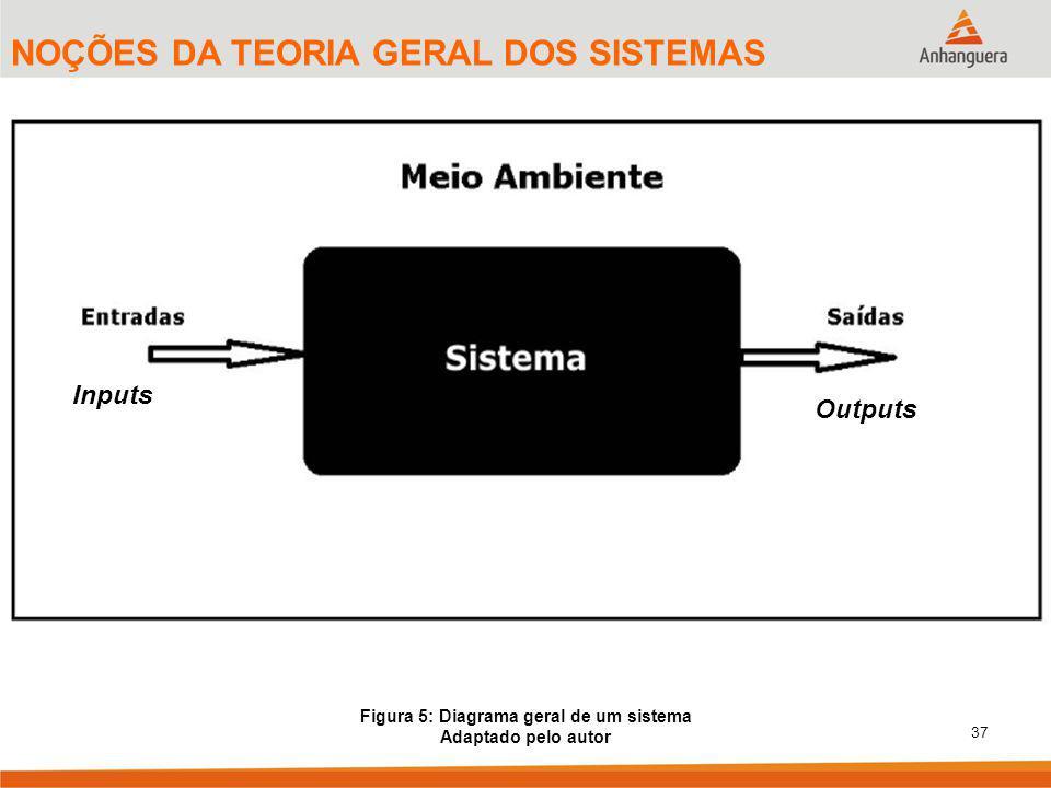 37 NOÇÕES DA TEORIA GERAL DOS SISTEMAS Figura 5: Diagrama geral de um sistema Adaptado pelo autor Inputs Outputs