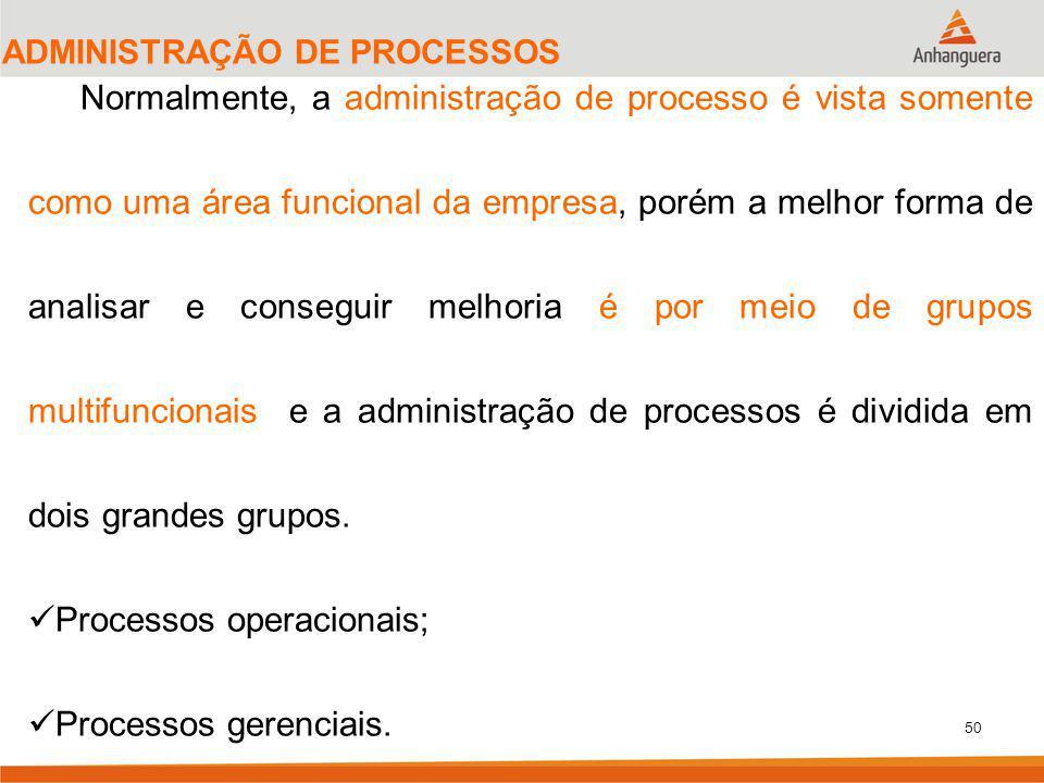 50 ADMINISTRAÇÃO DE PROCESSOS Normalmente, a administração de processo é vista somente como uma área funcional da empresa, porém a melhor forma de ana