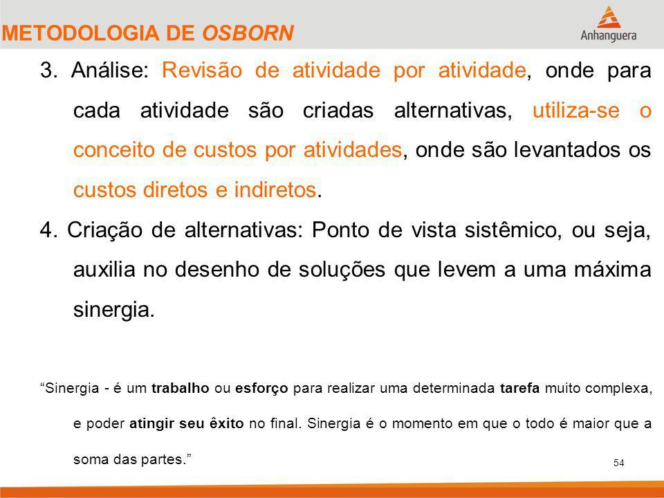 54 METODOLOGIA DE OSBORN 3. Análise: Revisão de atividade por atividade, onde para cada atividade são criadas alternativas, utiliza-se o conceito de c