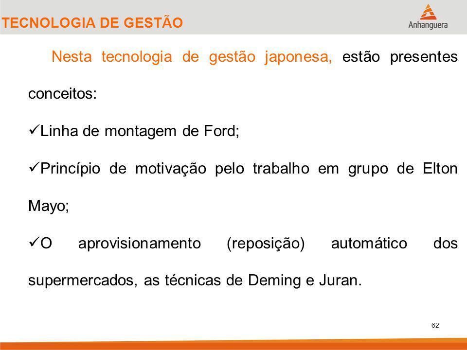 62 TECNOLOGIA DE GESTÃO Nesta tecnologia de gestão japonesa, estão presentes conceitos: Linha de montagem de Ford; Princípio de motivação pelo trabalho em grupo de Elton Mayo; O aprovisionamento (reposição) automático dos supermercados, as técnicas de Deming e Juran.
