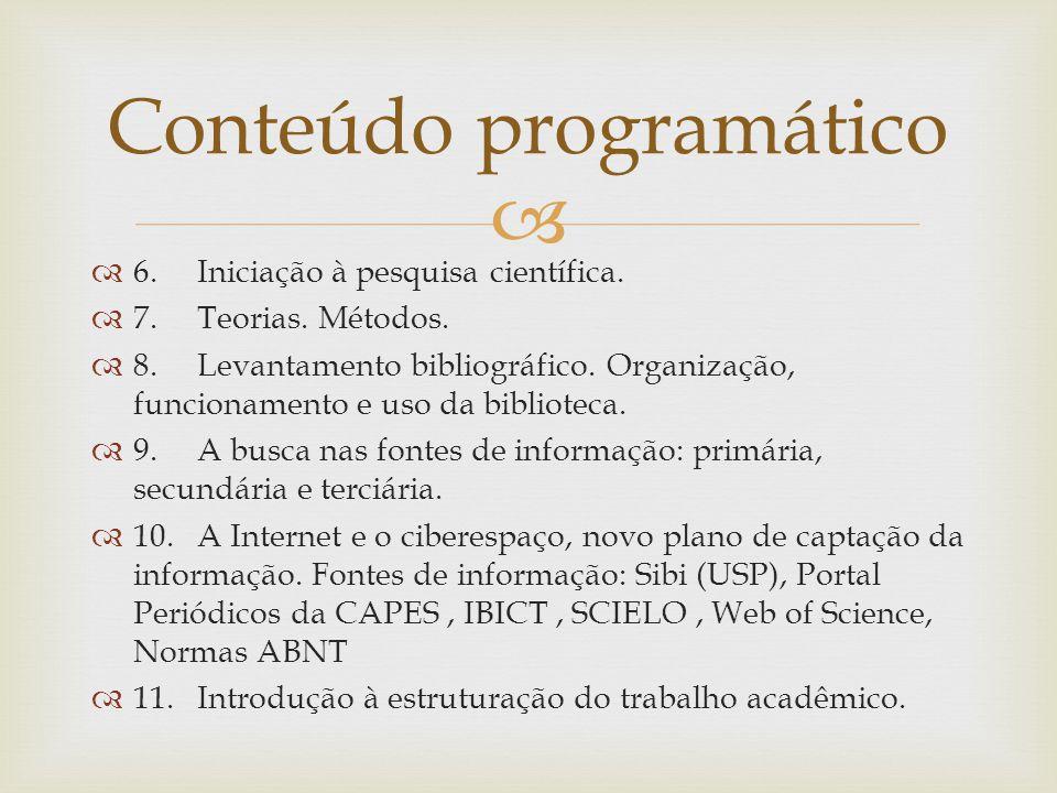 6.Iniciação à pesquisa científica.7.Teorias. Métodos.