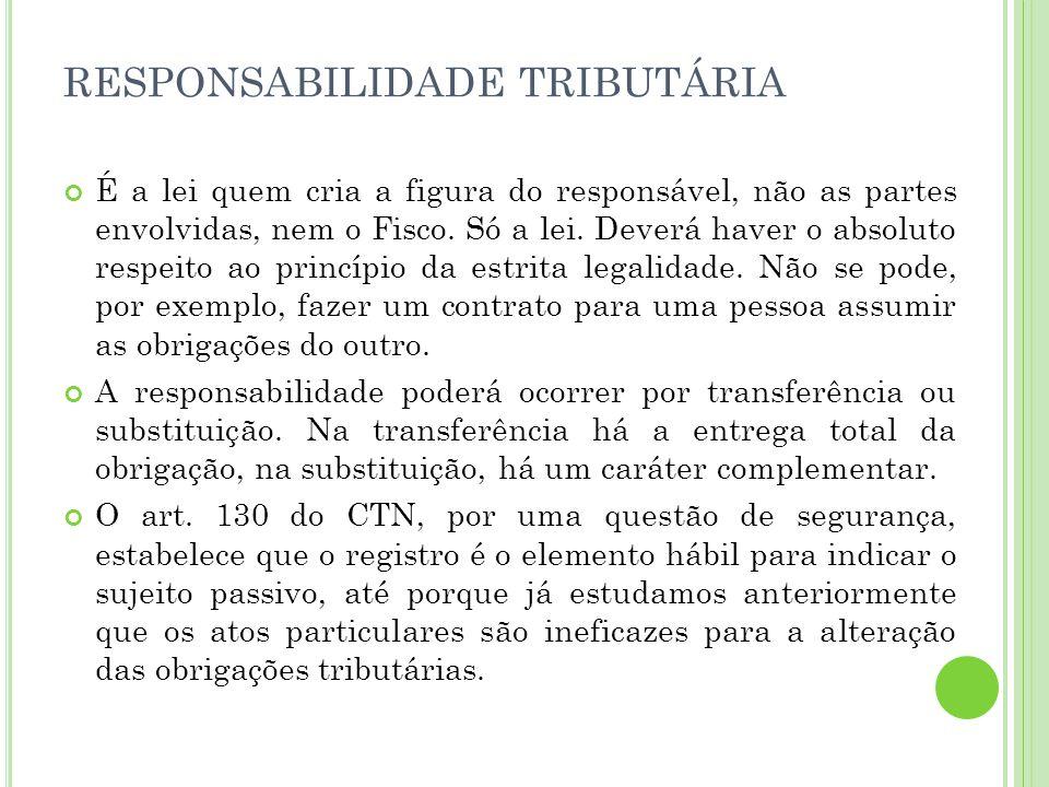 RESPONSABILIDADE TRIBUTÁRIA É a lei quem cria a figura do responsável, não as partes envolvidas, nem o Fisco. Só a lei. Deverá haver o absoluto respei