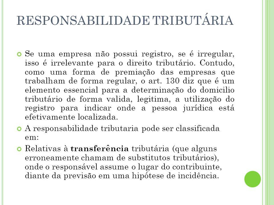 RESPONSABILIDADE TRIBUTÁRIA Na transferência tributária, há a transferência completa, integral, da responsabilidade do contribuinte para o responsável.