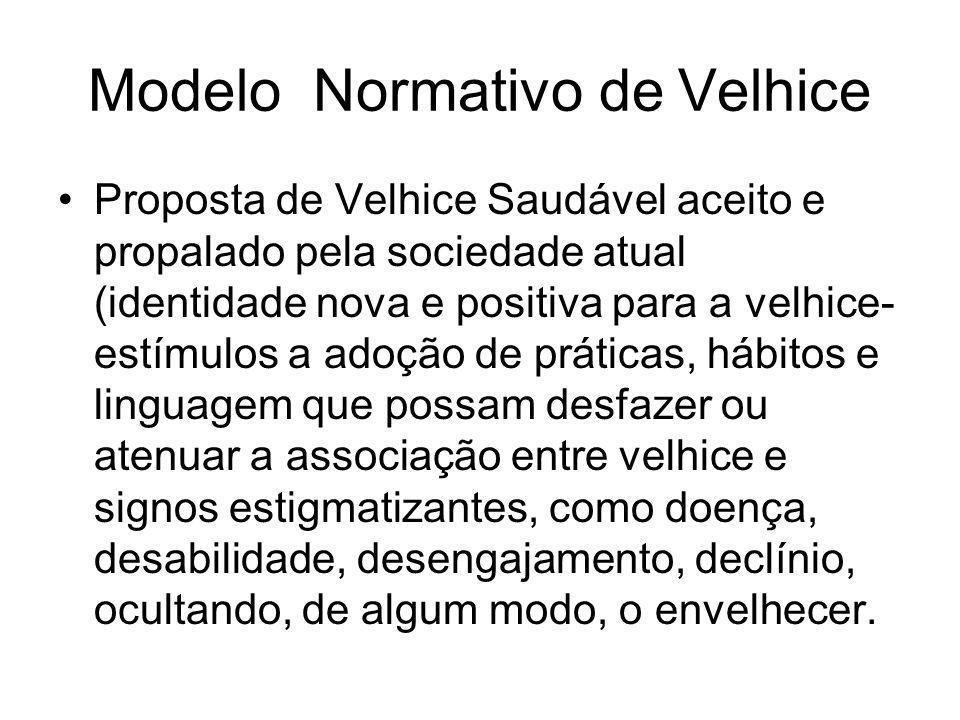 Modelo Normativo de Velhice Proposta de Velhice Saudável aceito e propalado pela sociedade atual (identidade nova e positiva para a velhice- estímulos