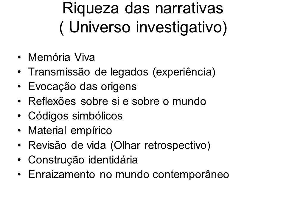 Riqueza das narrativas ( Universo investigativo) Memória Viva Transmissão de legados (experiência) Evocação das origens Reflexões sobre si e sobre o m