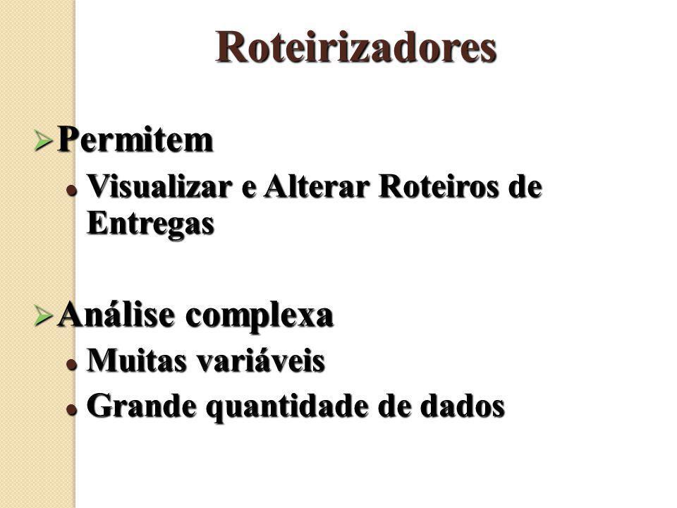 Roteirizadores Permitem Permitem Visualizar e Alterar Roteiros de Entregas Visualizar e Alterar Roteiros de Entregas Análise complexa Análise complexa